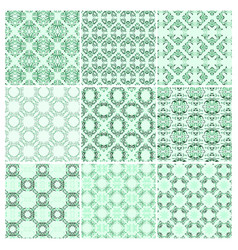 set of nine seamless pattern vector image vector image