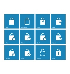Shopping bag icons on blue background vector image