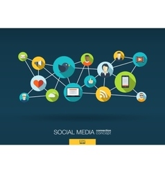 Social media network background with integrate vector image