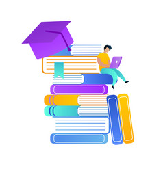 student with laptop on knees sit on heap of books vector image