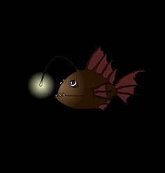Terrible and funny fish with a flashlight vector