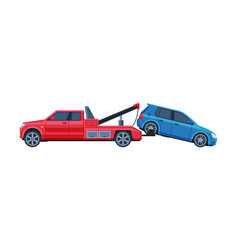 Tow truck evacuating blue car road accident flat vector