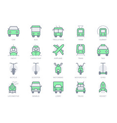 transport front view simple line icons vector image