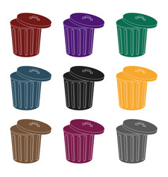 trash can icon in black style isolated on white vector image