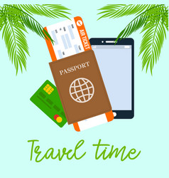 travel time square poster with calligraphy vector image