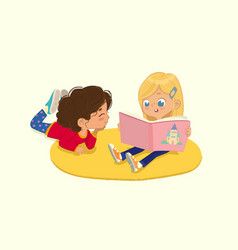Two friends girls reading book vector
