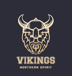 Vikings logo bearded warrior in horned helmet vector