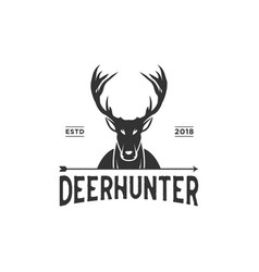 vintage deer logo design inspiration in black vector image