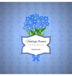 Vintage label design with blue flowers vector image