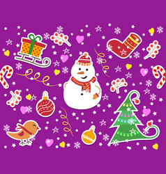 winter pattern with snowflakes and snowmen vector image