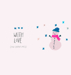 with love snow snowman winter christmas season vector image