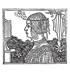 Woman with braids vintage engraving vector