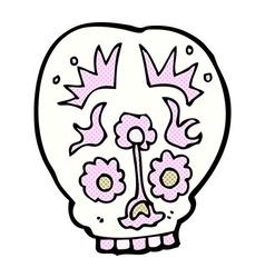 comic cartoon sugar skull vector image vector image