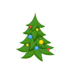 decorated christmas tree cartoon vector image