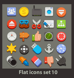 flat icon-set 10 vector image vector image