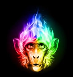Monkey fire head vector image vector image