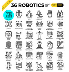 robotic technology outline icons vector image vector image