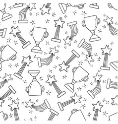 seamless pattern with hand-drawn awards vector image vector image