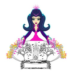 Young beautiful witch with crystal ball vector image