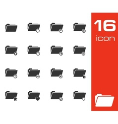 black folder icons set on white background vector image vector image