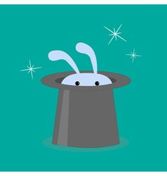Bunny rabbit in magic hat vector image