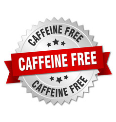 caffeine free round isolated silver badge vector image vector image