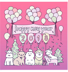 dogs in 2018 new year party vector image