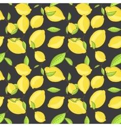 Green lemon fruits with leaf on branch dark black vector image