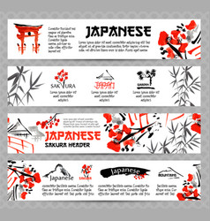 horizontal website banners set with asia vector image vector image