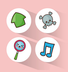 kawaii collection icons social media vector image vector image