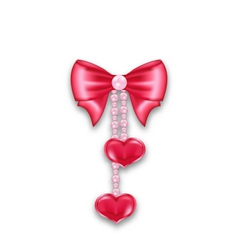 Pink gift bow ribbon with heart hanging on pearls vector image vector image