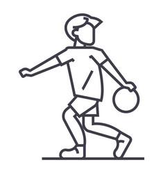 basketball line icon sign on vector image