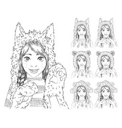 Cute girl with braids in different animal hats vector
