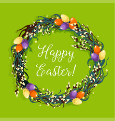 easter wreath with egg and willow for card design vector image vector image