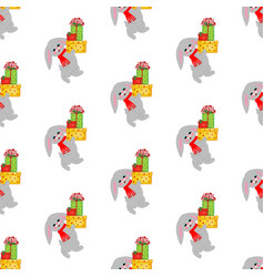 rabbit with gifts pattern vector image vector image