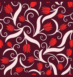 seamless pattern with red tulips vector image