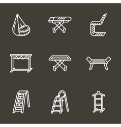 Simple line laundry furniture icons vector image vector image