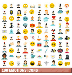 100 emotions icons set flat style vector image vector image