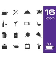 black food icon set on white background vector image vector image