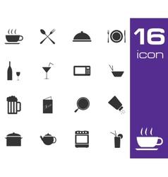 black food icon set on white background vector image