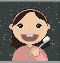 cartoon girl brushing teeth vector image
