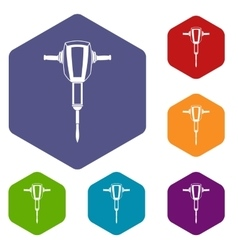 Pneumatic plugger hammer icons set vector image vector image