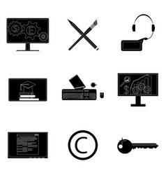 remote work icons set black silhouette vector image vector image