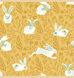 seamless pattern with bunnies for easter vector image