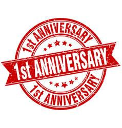 1st anniversary round grunge ribbon stamp vector