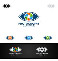 Abstract eyes camera photography logo icon vector