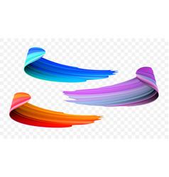 Acrylic paint brush color strokes vector