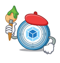 Artist webpack coin character cartoon vector
