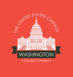 banner with capitol building in washington dc usa vector image