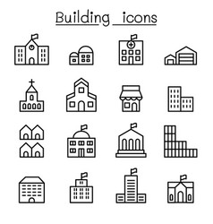 Basic building icon set in thin line style vector